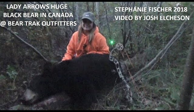 Lady Arrows huge Black Bear at Bear Trak Outfitters in Ontario Canada