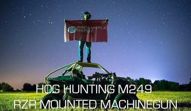 Hog Hunting with the M249 SAW Beltfed Machine Gun Mounted to RZR under Night Vision